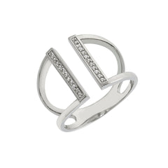 Pave Parallel Bar Ring