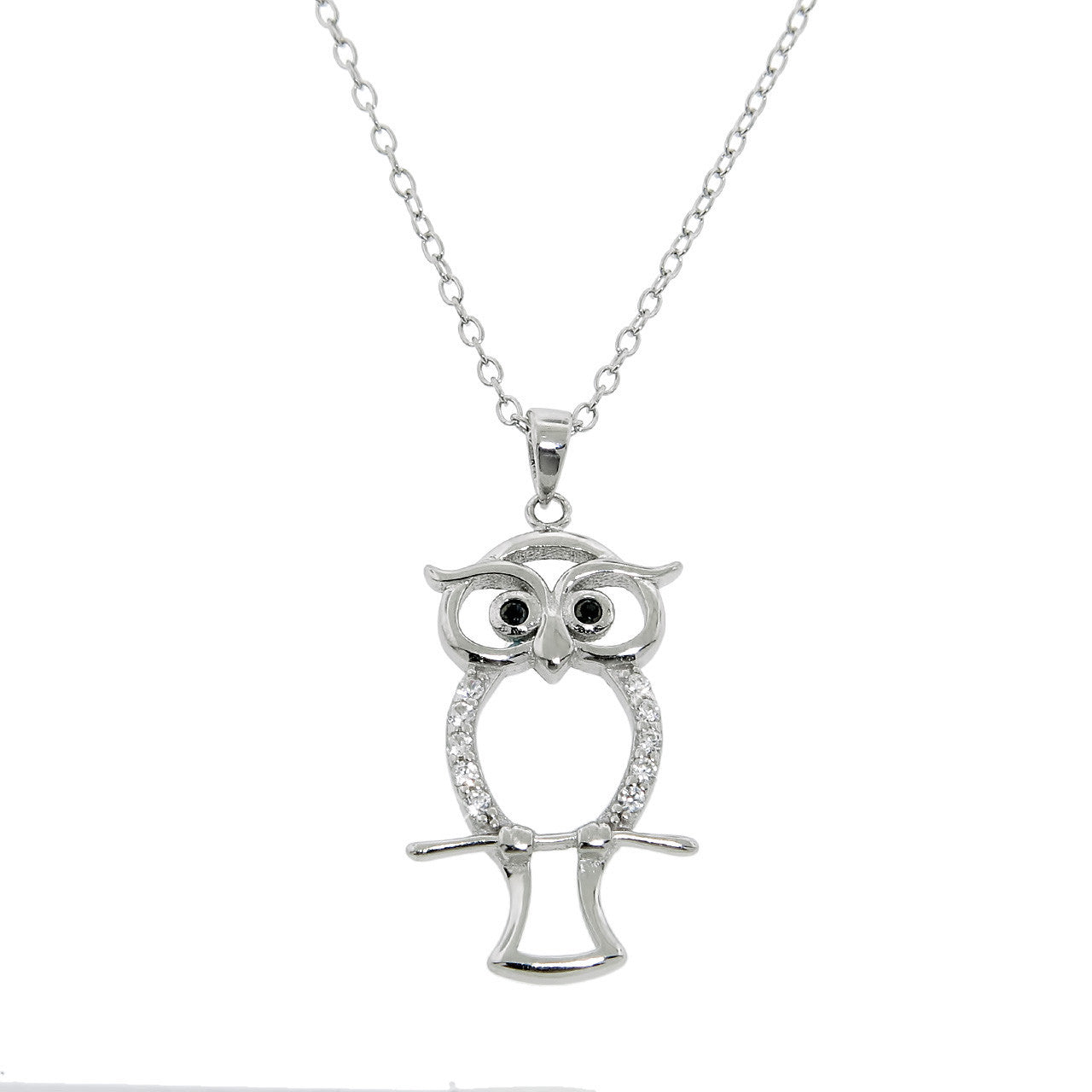 Sterling Silver Pave Owl Necklace