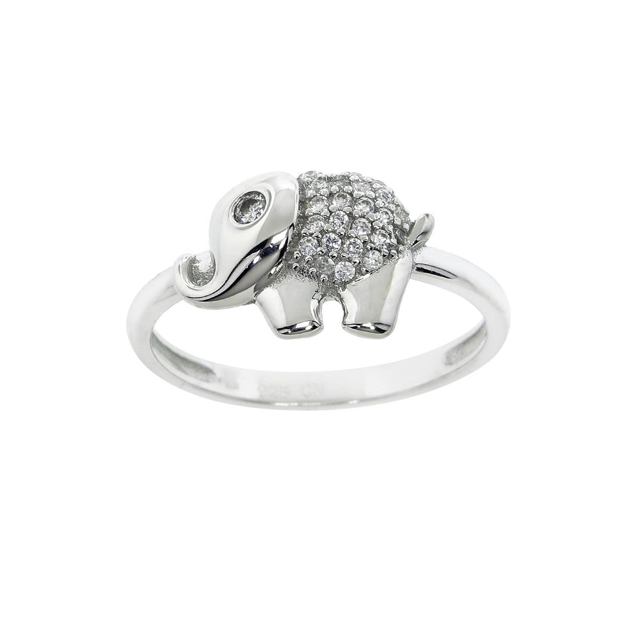 Sterling Silver Elephant Pave Ring