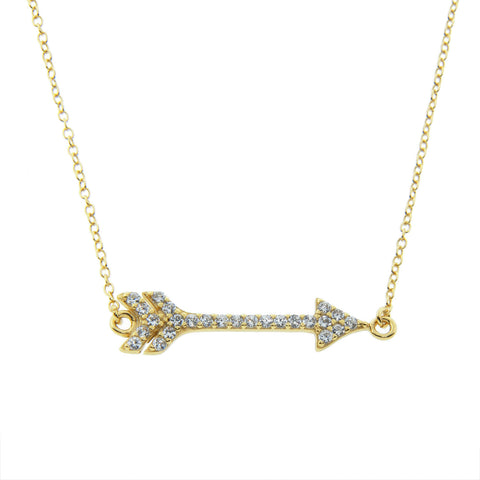 Sterling Silver Cupid's Arrow Pave Necklace