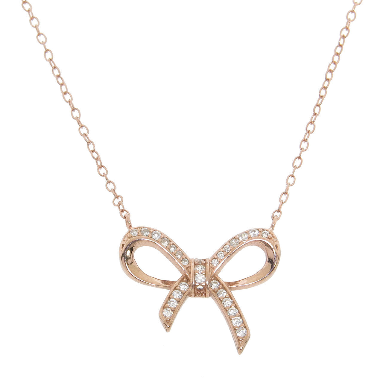 Bow Pave Necklace
