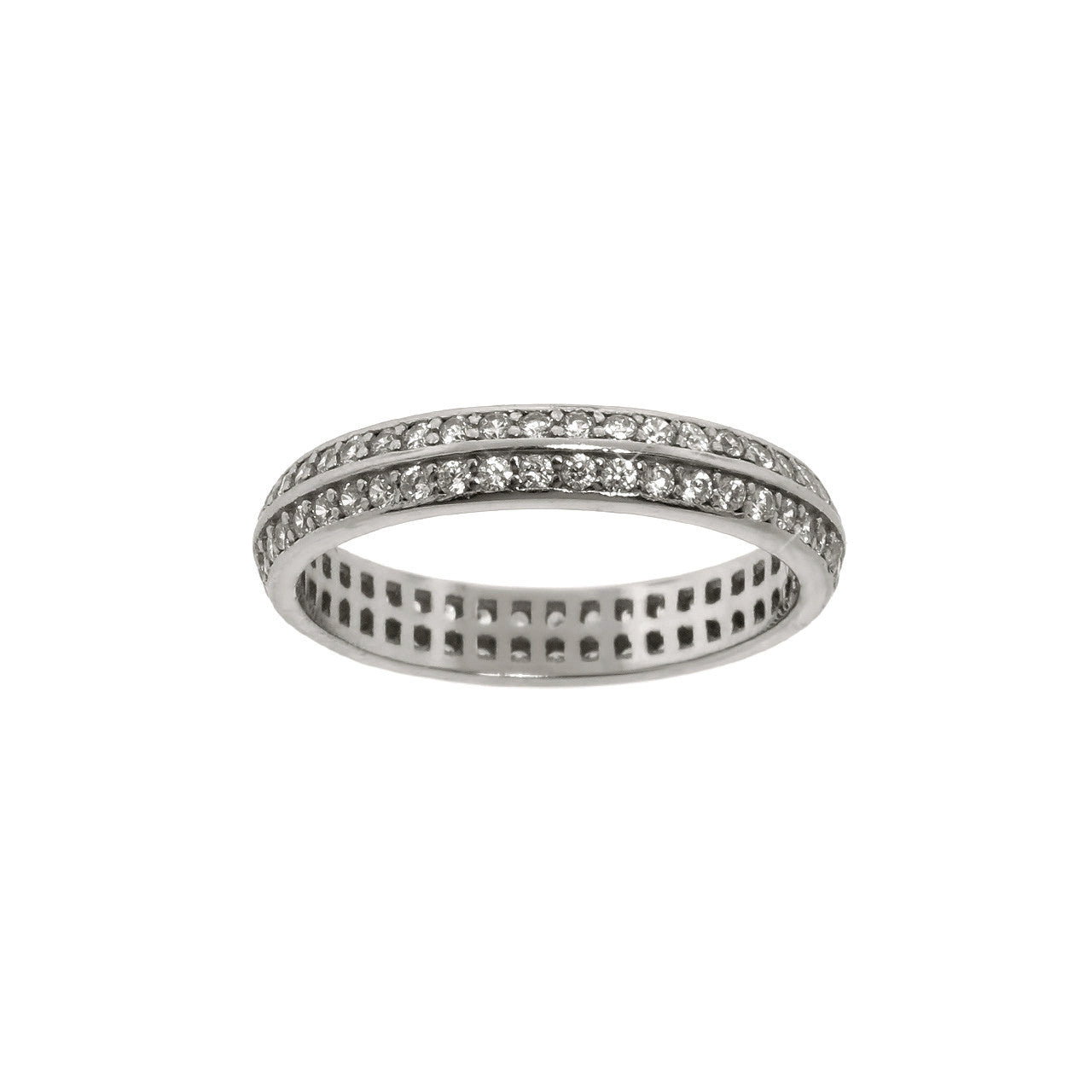 Sterling Silver Double Row Eternity Band