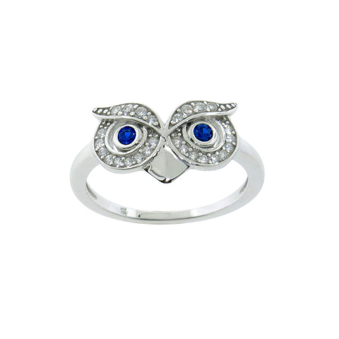 Sterling Silver Owl with Gem Eye