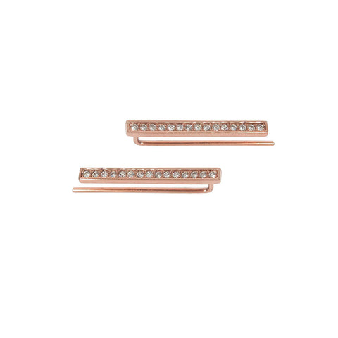 Solid Sterling Silver Pave Bar Ear Climber