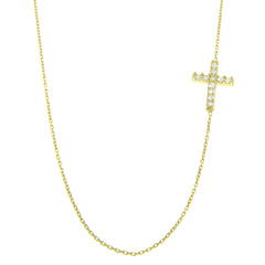 Sterling Silver Side Cross Pave  Necklace