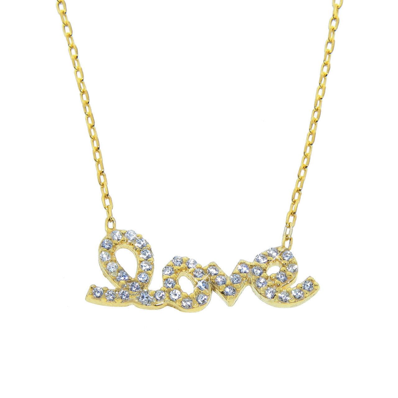Sterling Silver Love Script Necklace