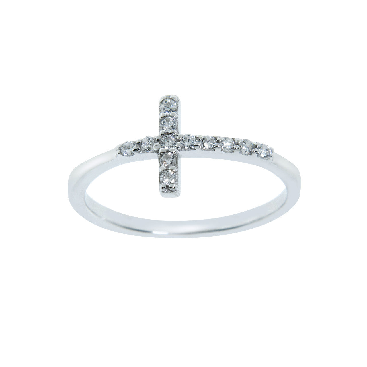 Sterling Silver Side Cross Ring