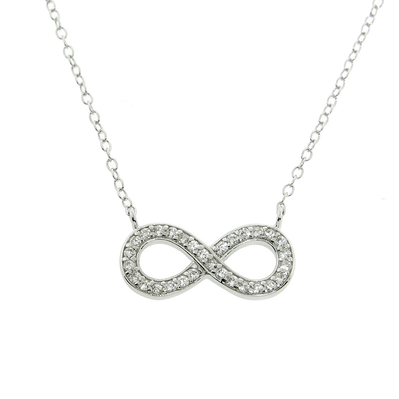 Sterling Silver Infinity Pave Necklace