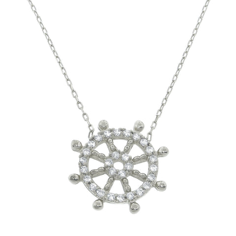 Sterling Silver Nautical Wheel Necklace