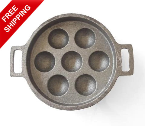 Unniyappa Chatti 7 pits not seasoned-Cast Iron Appa Chatti, Appa Karal, Paniyaram Pan Seven Pits-Buy Online