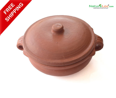Clay Curry Pot With Lid, Clay Fish Curry Kadai Pot, Clay Earthen Cooking Pot - Handmade Earthen Cookware - Buy Online