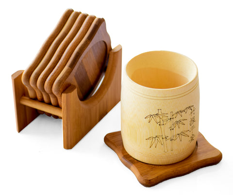 Bamboo Coaster Set Of 6 - Coasters For Coffee Tea Cup, Dining Table Accessories - Buy Online