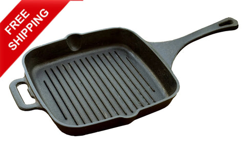 Cast Iron Grill Pan Seasoned, Grill Pan Cookware, Cast Iron Skillet - Buy Online