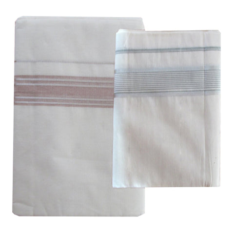 Cream Cotton Mund with coloured border - Buy Online Cream Colour Veshties
