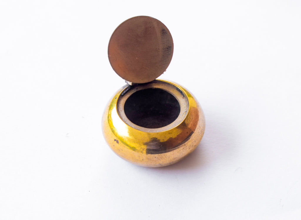 Brass Kumkum Box, Kumkuma Cheppu, Small Size Kumkum Pot in Brass, Flat and Round, Brass Sindoor Box - Buy Online