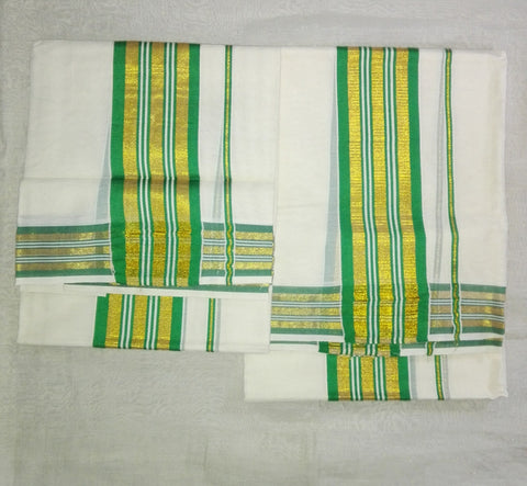 Set Mund Green Colour-Traditional  Saree Set Mundu with Green colour Zari Woven-Buy Online