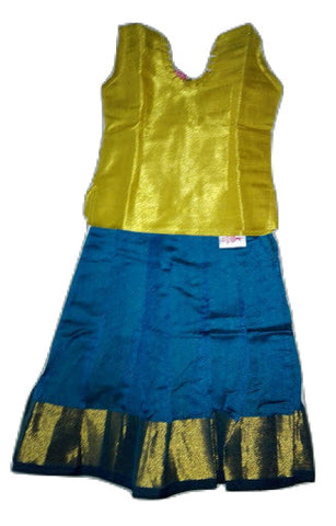 df36f67fb37af8 ... Silk Full Skirt (Pattu Pavada) -Blouse for kids - Golden blouse and  full ...
