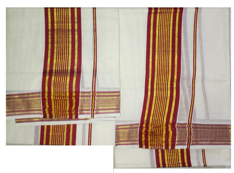 Set Mund Brown Colour-Traditional  Saree Set Mundu with maroon colour Zari Woven-Buy Online