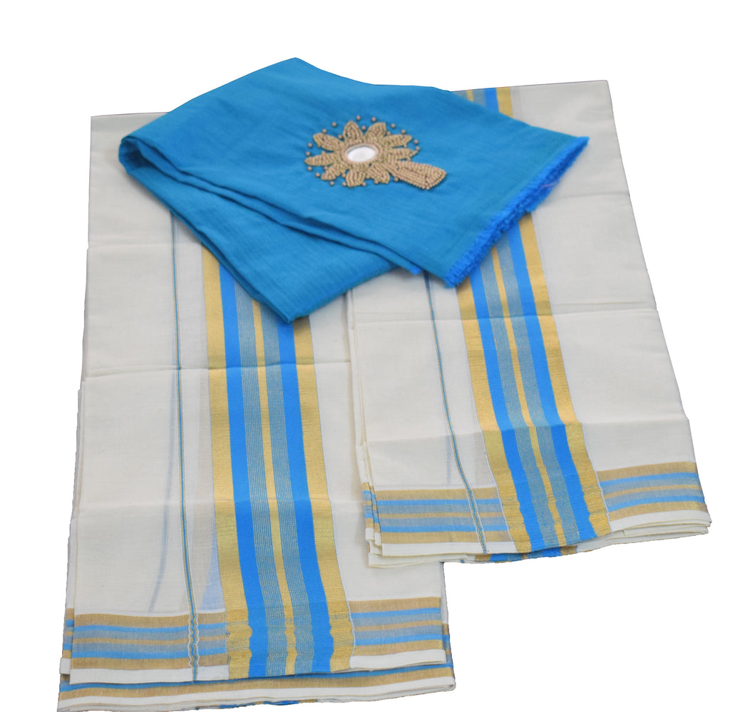 Set Mund Blue and Golden Colour-Traditional Saree Set Mundu Buy Online