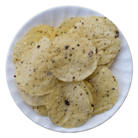 Tapioca Black Pepper Papad, Kappa Pappad - Homemade Kappa Black Pepper Papadum - Buy Online
