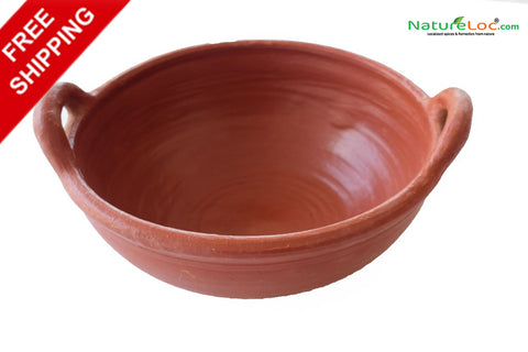 Clay Kadai Chenna Chatty, Clay Kadai Pot, Deep Fry Pan - Handmade Earthen Cookware - Buy Online