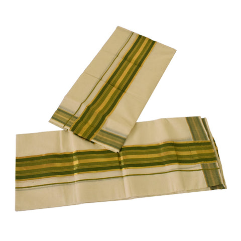 Kerala Sett Mund - Kerala Settum Mundum- Green And ,golden zari buy online
