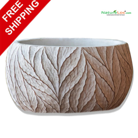 Ceramic planter, White Ceramic pot with Leaf Design, Leaf Ceramic Pot, White Leaf Design Ceramic Pot - Buy Online