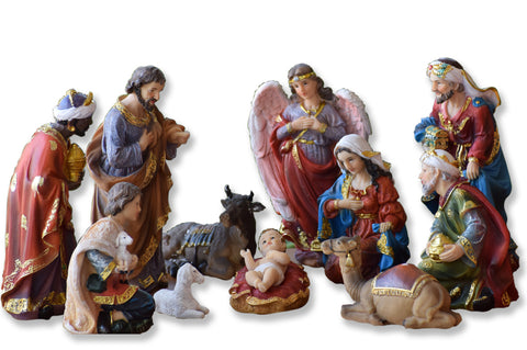 Christmas Nativity Set, Polymarble Christmas Crib Set, Nativity Figurine Set, Pulkoodu Set - Buy Online