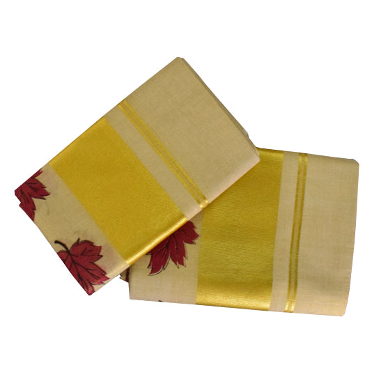 Set Mund Cream Golden Border Red Leaves Painting -Traditional Saree Set Mundu Buy Online