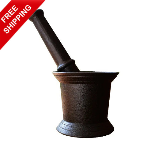 Cast Iron Mortar And Pestle (Crusher) Seasoned - Buy Online