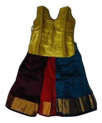 Silk Full Skirt (Pattu Pavada) -Blouse for kids - Golden blouse and full skirt for girls-Buy Online