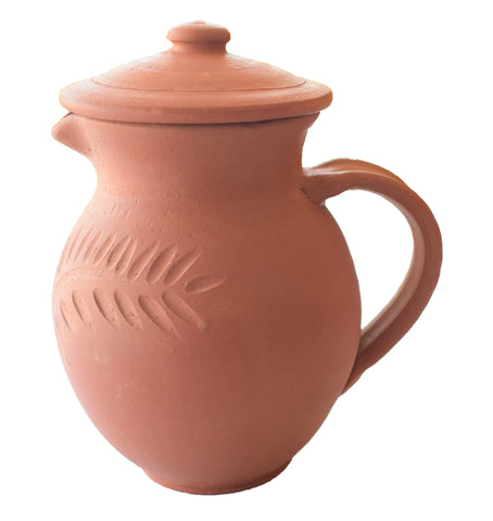 Clay Water Jug, Handmade Clay Jug With Handle And Lid - Earthenware - Buy Online