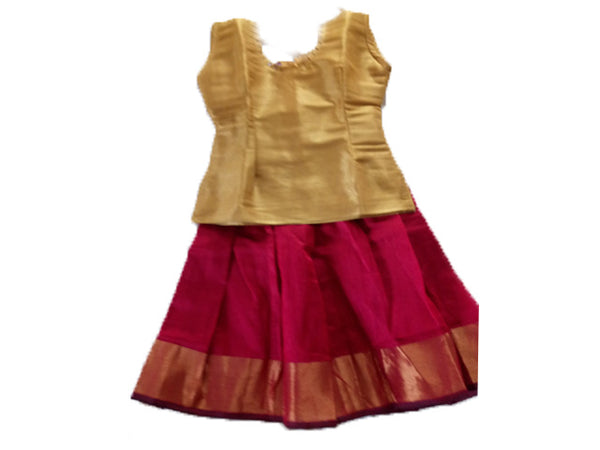 60e15e2ab6bedf Silk Full Skirt (Pattu Pavada) -Blouse for kids - Golden blouse and fu –  NatureLoC