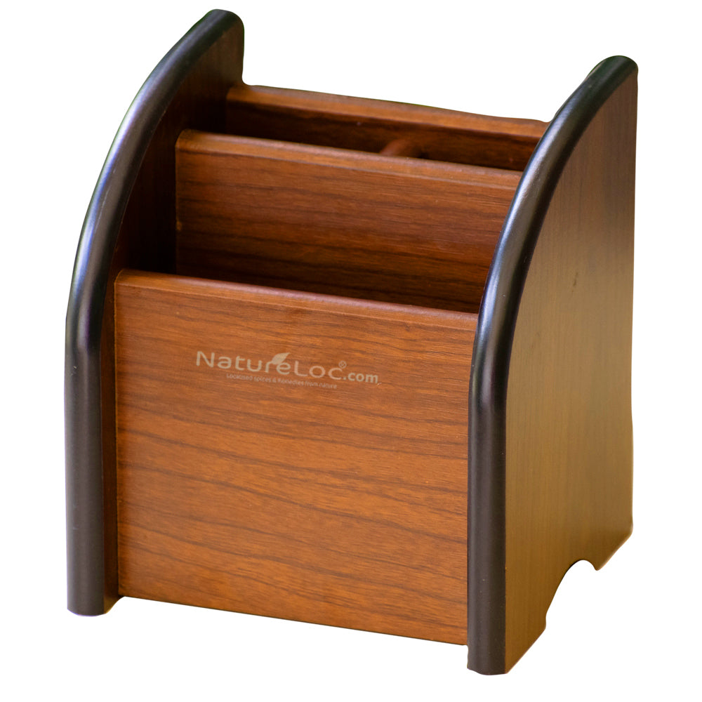 Pen Holder, Multiwood Card Holder and Pen Stand, 3 Compartment Office desk Card Holder - Buy Online