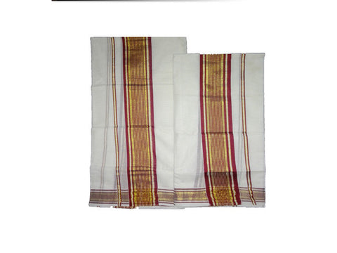 Set Mund Brown Colour-Traditional  Saree Set Mundu with Brown colour Zari Woven-Buy Online