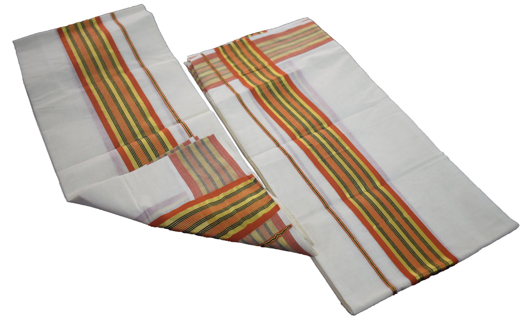Set Mund (Black Orange Stripes)-Traditional  Saree Set Mundu Buy Online