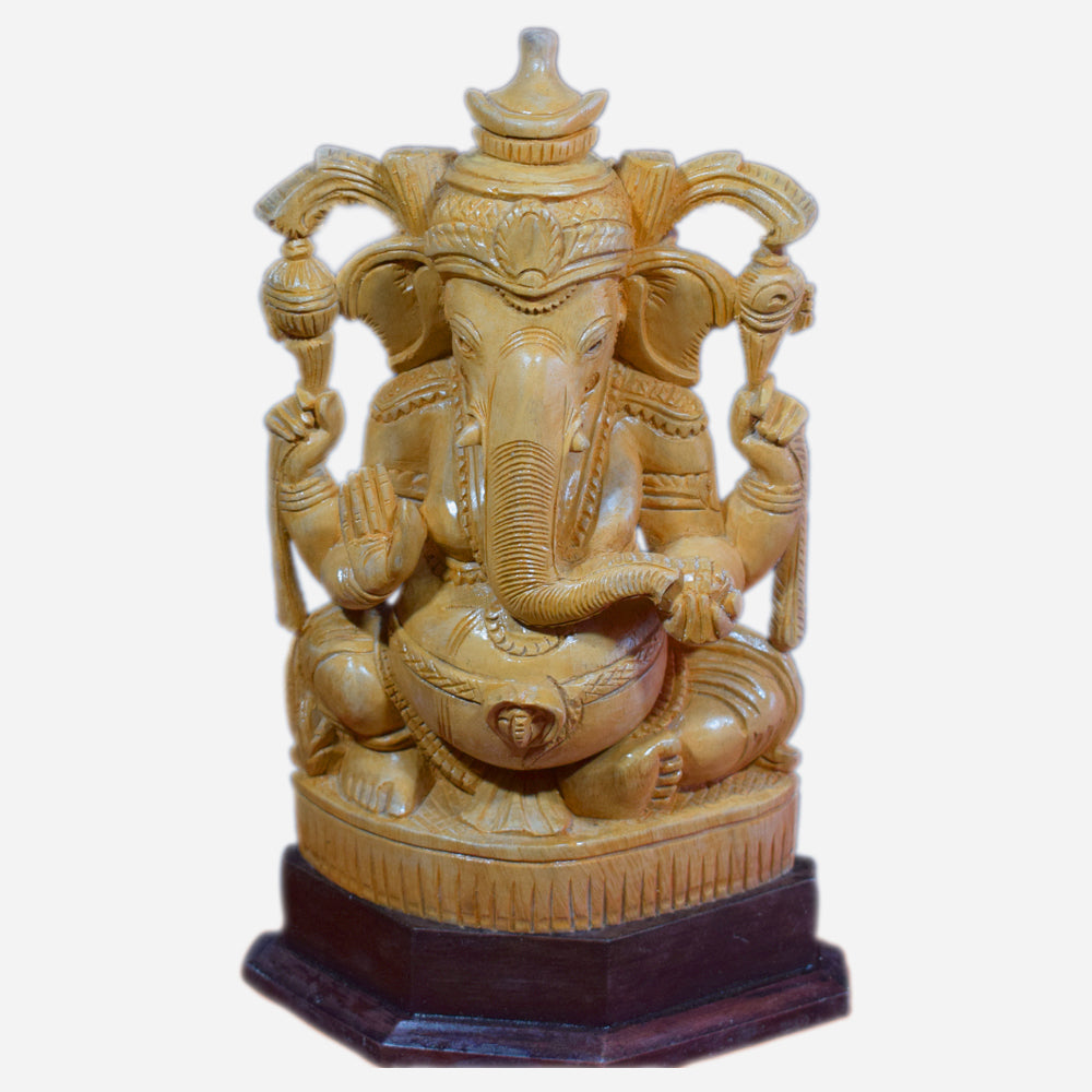 Ganesha Idol, Wooden Ganesha Statue, Wooden Ganapathi Sculpture, Hand Carved Ganesha Idol - Buy Online