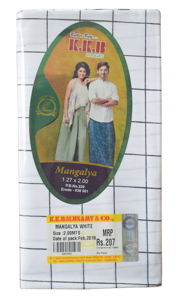 White Colour Check-Cotton Lungi (Kaily) Buy Online