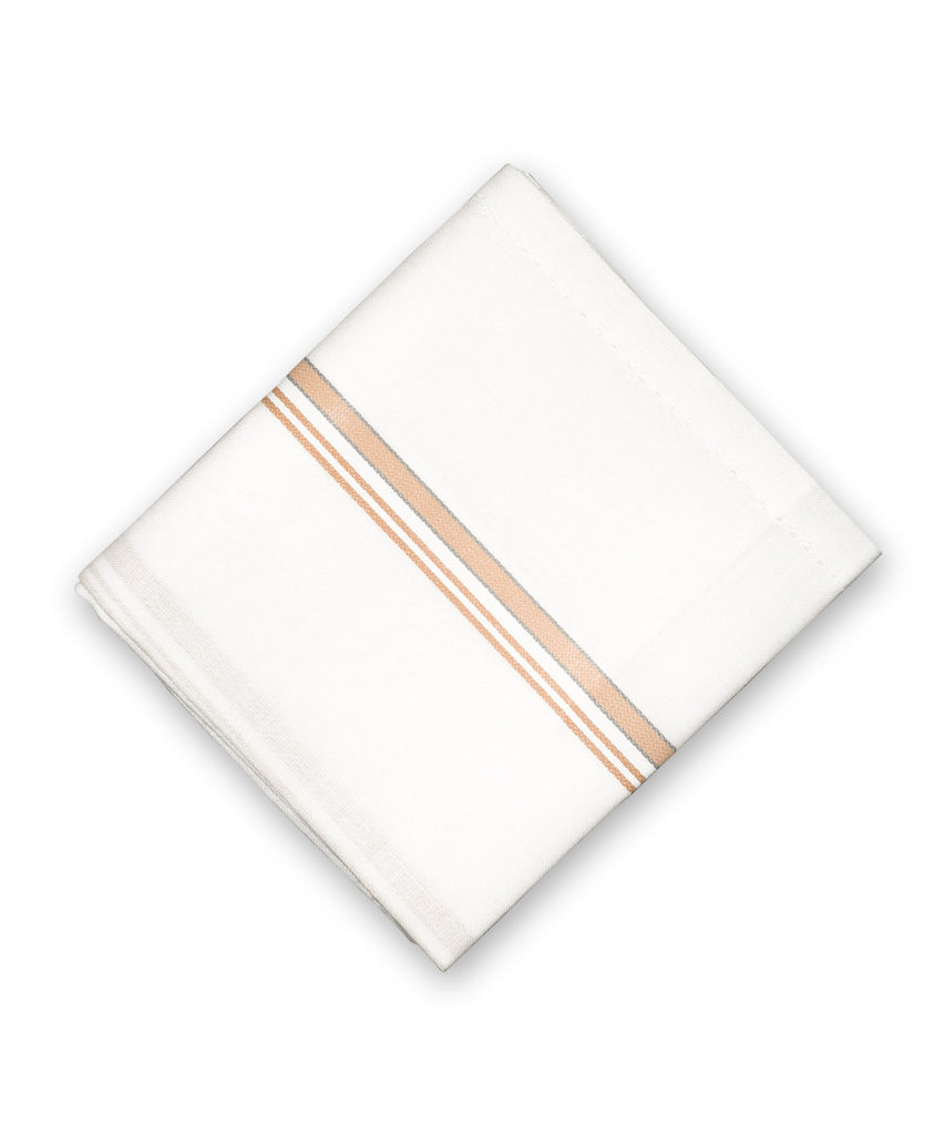 Handkerchief, White Handkerchief with Border Stripes, Towel, White Roomal with coloured border stripes - Buy Online