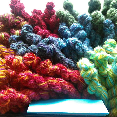10G mini skeins of hand dyed yarns in bunches