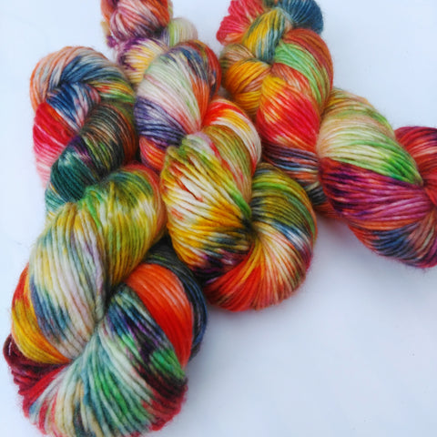 Hand-dyed British single ply worsted yarn - In Bloom 100% Bluefaced Leicester wool