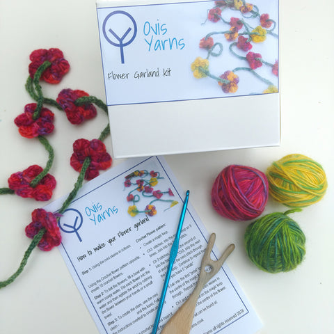 Flower Garland craft kits using hand dyed yarns, crochet and a lucet