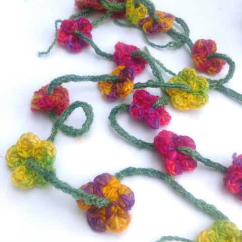 Crochet flower garland tutorial, made from hand dyed British yarn
