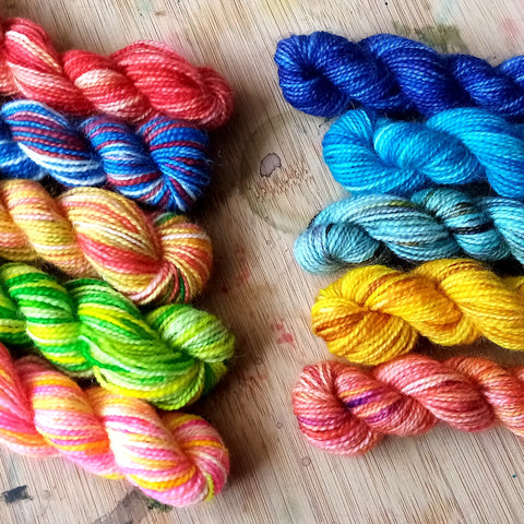 Two sets of mini skeins in bright colours