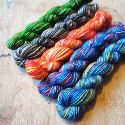Multi coloured minis skeins of BFL British wool yarn - inspired by the Avengers