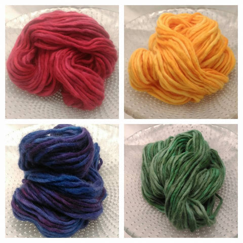4 hand dyed pencil rovings in primary colours