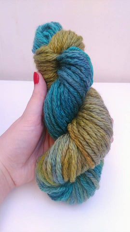 Swirling through seaweed on Poppy twist, blue, turquoise and green yarn