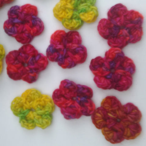Crochet flower pattern using hand dyed British wool yarn