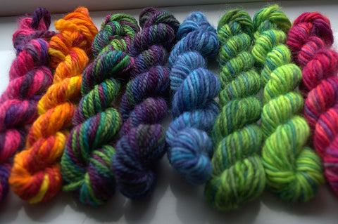 Small mini skeins of hand dyed yarns