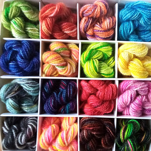 Life is like a box of yarn - Hand dyed mini treat box - 16 x 10g mini skeins